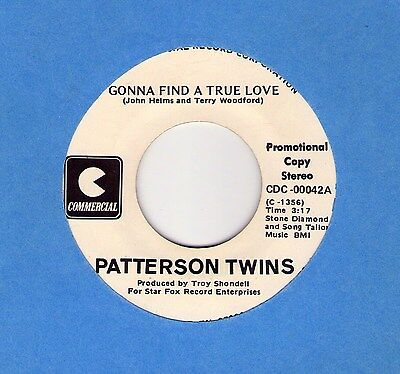 "rare Modern Soul (Hear!) PATTERSON TWINS ""Gonna Find A True Love"" Commercial DJ!"