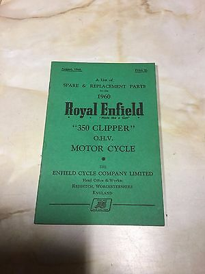 Royal Enfield 1960 350 Clipper Parts List 10-00595 [3-86]