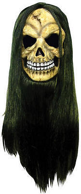 Adult Halloween Skull Mask c/w green and black hair Horror Fancy Dress