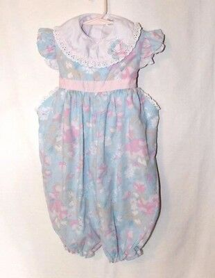 Vintage Little Girls Floral Pastel Print Jumpsuit with matching top Sz 24months
