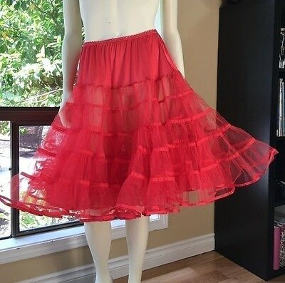 "Vintage Malco Modes Red Tulle 5 Tier Petticoat L Square Dance Swing 22"" Long"
