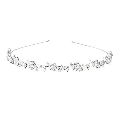 Hobees Womens Wedding Crystal Bridal Flower & Leaves Crown Headband Tiara