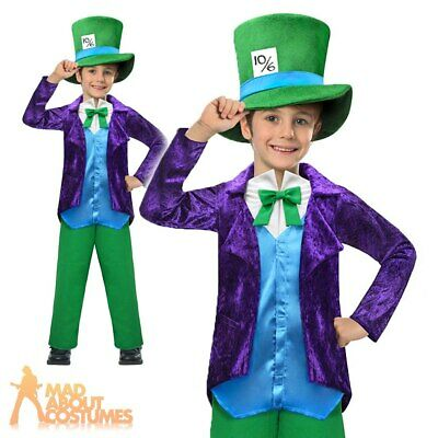 Boys Top Mad Hatter Costume Kids Book Week Fancy Dress Child Alice Film Outfit