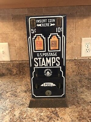 Vintage Coin Operated Us Postage Stamp Machine Rare Blue Coin Op