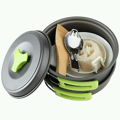 Camping Cookware Mess Kit Backpacking Gear Hiking Outdoors Bug Out Bag Cooking
