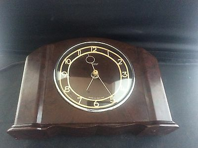 Vintage Art Deco 1930s Smths Sectronic Electric Mantle Clock Brown Bakelite Case