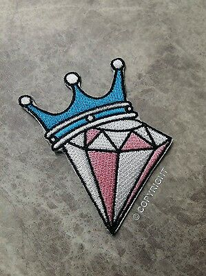 Diamond Patch Pink Blue Crown Craft Royal Dance Iron On Patch Applique Badge