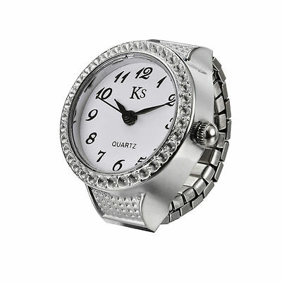 White Dial Classic Silver Steel Case Elastic Finger Ring Watch Quartz Lady Girl