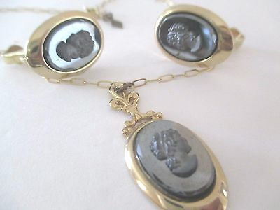 Vintage 1960s Sarah Coventry Black Glass Intaglio Cameo Necklace Earring set--23