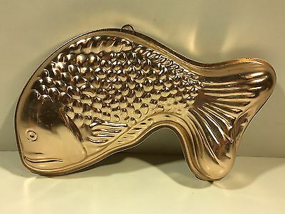 Vintage copper Tone Fish Jello Mold Wall Hanging W/ Hanger