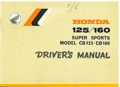 HONDA MOTORCYCLE CB125 & CB160 SUPER SPORTS OPERATORS MANUAL - 1964on