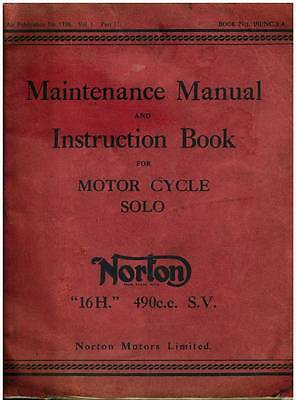 NORTON SOLO 16H 490cc S.V. MOTORCYCLE WORKSHOP SERVICE MANUAL