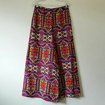 Vtg 60s 70s Greenecastle California Bright Paisley Mod Retro Wide Leg Pants 30""