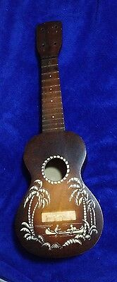 Vintage Canoe Motif Ukulele For Parts Or Repair Only