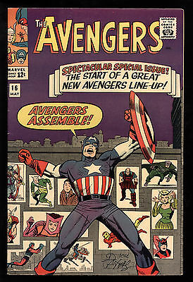 Avengers (1963) #16 1st Print New Avengers Line-Up Kirby Signed Dick Ayers VF