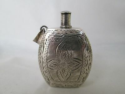 """Rare vintage 925 Sterling Silver etched Perfume bottle pendant 1 7/8"""" tall"""