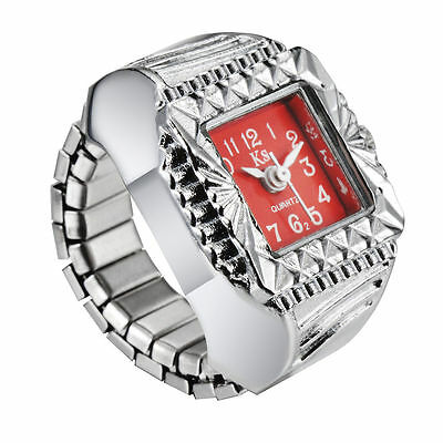 Red Elegance Square Dial Silver Steel Case Finger Ring Watch Quartz Lady Girl