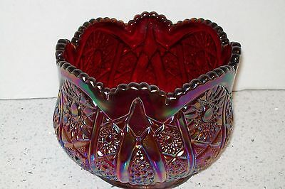 Vintage Indiana Glass Heirloom Sunset Red Carnival Glass Bowl EUC