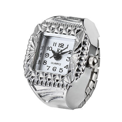 White Elegance Square Dial Silver Steel Case Finger Ring Watch Quartz Lady Girl