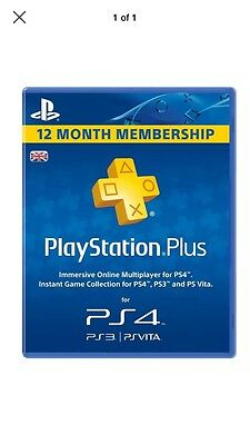 Sony PlayStation Plus 12 Month Membership For Sony PSN PS3/PS4 & PSVITA 365 Days