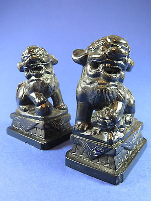 Pair Of Old Chinese Black Hardstone Foo Dogs ~  Guardian Lions ~ Shi