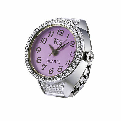Purple Dial Classic Silver Steel Case Elastic Finger Ring Watch Quartz Lady Girl
