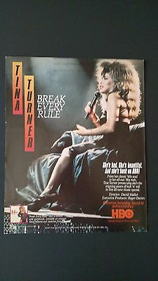 "Tina Turner ""break Every Rule"" Hbo '87  Rare Original Print Promo Poster Ad"
