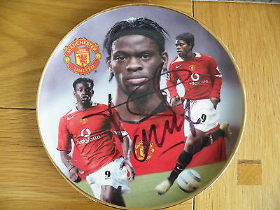 """Manchester United Louis Saha """"SIGNED"""" Danbury Mint Collectors Football Plate"""