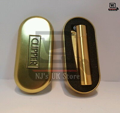 CLIPPER GOLD Metal Chrome with Metallic Gold Finish Lighter + Gift Tin Genuine