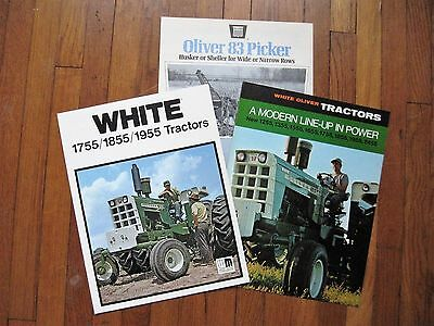 Lot of 3 Oliver 2455 1955 1855 1755 1655 1555 1355 1255 Tractor Picker Brochure
