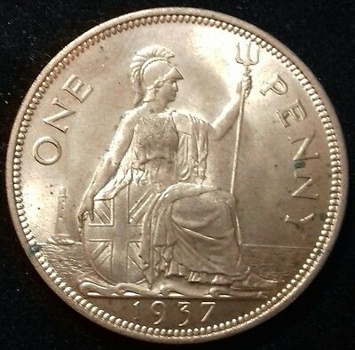 1937 Penny. Almost Full Lustre. George V1 British Bronze Coins.