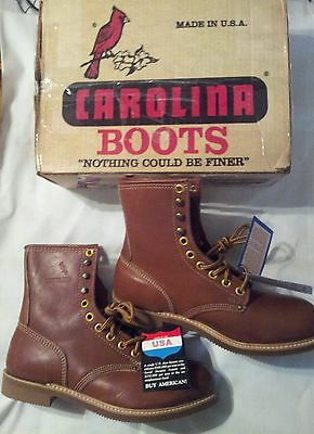 Vintage Carolina 188 Work Boots Brown Leather Size 10 1/2 Eee.   Made In Usa