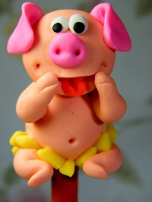 Polymer Clay Lovely Piggy Figurine Act On Top Of Wooden Pencil Novelty Fun #01