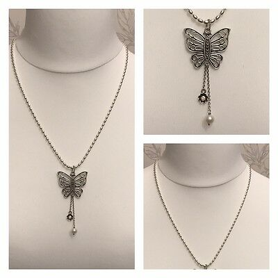 PANDORA 60cm BALL CHAIN NECKLACE WITH LARGE BUTTERFLY PENDANT