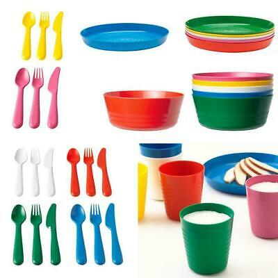 Kalas Children's Kids Plastic Bowls Plates Cups Cutlery Set Dishwasher Microwave