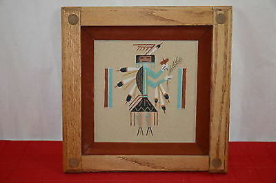 "Navajo Sand Painting Female Yei 12"" x 12"" Art Framed Matted NOT SIGNED  1370"