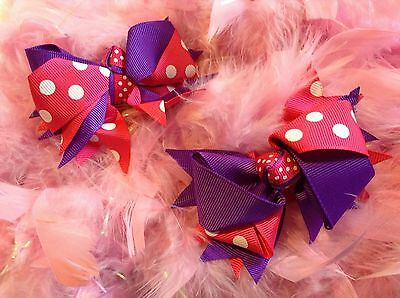 Lot of TWO 4 Inch Boutique Purple and Hot Pink Hair Bows w/ Clips Baby