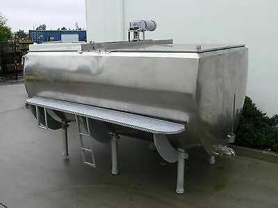 1500 Gallon Farm Tank w/ Agitator Mixer, Dual Hinged, Stainless Steel, Jacketed
