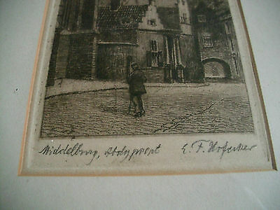 VINTAGE FRAMED ETCHING -Signed -Place & signature illegible see photo Heidlberg?