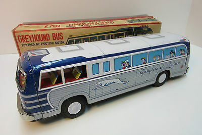 Rare Tin Friction Greyhound Bus Automated Door  Boxed Made In Japan 1960's MINT