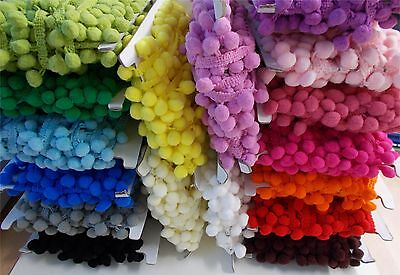 1 METRE 10mm Pom Pom Trimming Bobble Braid Decoration ~ 17 Colours Crafts/Sewing