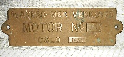 Antique Maritime Ship Brass Sign 1934 A/s Akers Mek Verksted Norway Shipyard