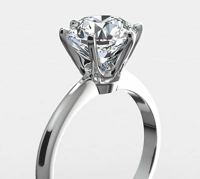 2 Carat Solitaire Diamond Ring Vs1 F Round Brilliant 14 K White Gold 6 Prongs Nr