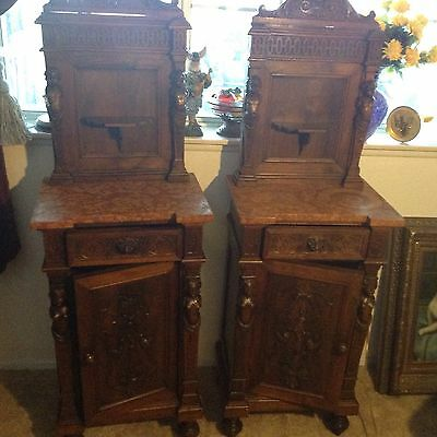 Antique carved wood pair of nightstands,ladies,lions,cherubs,gargoyles SALE SALE