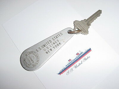 SS UNITED STATES LINES  Stateroom Key-Tag  / Suite M-114  /  Excellent Condition