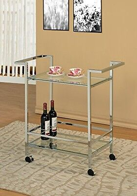 Chrome Metal Modern Bar Tea Wine Holder Serving Cart With Tempered Clear Glass
