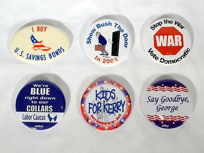 Lot of 6 Political Buttons From 2000's Democratic Kerry Anti-War Labor Cacus