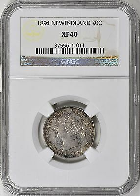 Newfoundland 1894 Silver 20 Cents NGC XF-40
