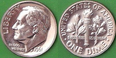 1961 US (P Mark) Silver Roosevelt Dime Graded as Proof From Original Set