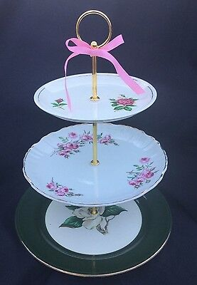 3 Tier Serving Tray Old Rose Wedding Cake Stand Pink Green Shabby